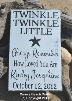 Nautical Nursery Beach Baby Personalized Childrens Room Decor Baby Gift Twinkle Twinkle Little Star Kids Room Beach Theme Baby Shower on Etsy, $47.00