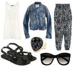 Denim Jacket + White Tank + B Print Harem Pants + Black Sandals + Black Accessories