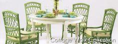Apple green rattan chairs.
