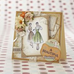 This gorgeous retro card is the cover star for our April 2014 issue. More gorgeous vintage-look cards to make in the mag! http://www.papercraftinspirationsmagazine.co.uk
