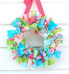 the doors, craft, rag wreaths, front doors, easter wreaths, spring wreaths, ribbon wreaths, fabric scraps, summer wreath