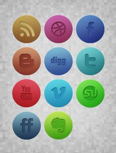 subtlgrungeiconspreview Subtle Textured Grunge Noise Social Media Icons