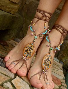 new TREE BAREFOOT sandals NATURE festival hippie hula hooping belly dance yoga foot jewelry