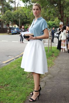 Friday office outfit: a button-down and ladylike skirt
