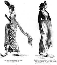 """A """"mervielleuse"""" of 1796. Dress and Spence Jacket and """"baby"""" style cap in the fashion of 1796 (Quicerat)."""