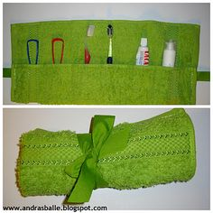 Towel as a pouch for toothpaste and toothbrush - so easy and useful for travel