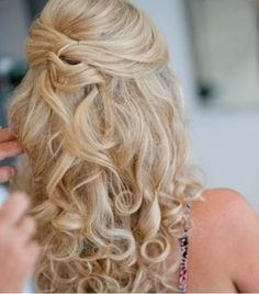 half up curly blonde bridesmaid hair