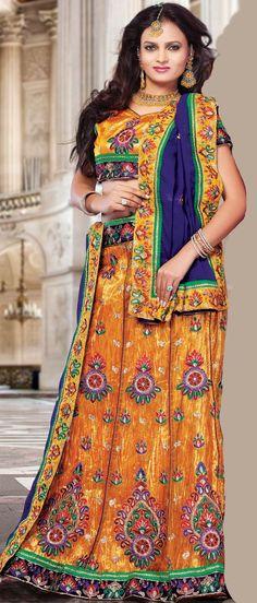 Mustard Flare Net #Lehenga Choli With #Dupatta @ $75.00 | Shop @ http://www.utsavfashion.com/store/sarees-large.aspx?icode=ldw410