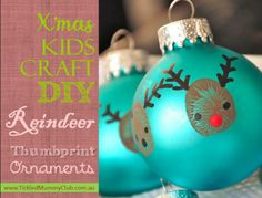 TUTORIAL & TIPS   Awesome and adorable thumb-printed Christmas ornaments - super easy and simple to make: a 20-min craft! !! They make the best gift/keepsake to grandparents, family and friends for years to come!!! #TickledMummyClub #ChristmasCraft #ChristmasOrnament