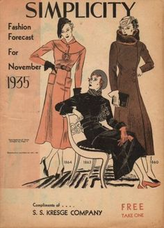 Simplicity Fashion Forecast Flyer, November 1935 featuring Simplicity 1872 and 1880