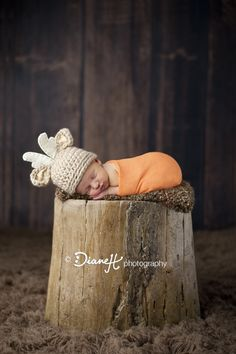 Baby Boy Newborn in baby buck deer hunting @DianeH Photography