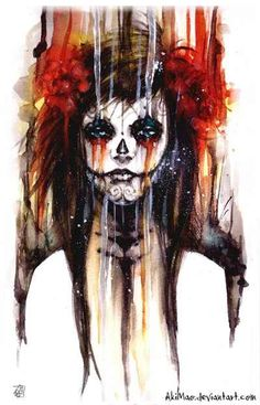 Day of the Dead Sugar Skull Girl Artwork   Beautiful,, my cousin would love this!
