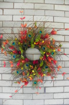 Handmade Peacock Feather Wreath, Fall/Autumn/Thanksgiving Door Wreath, Orange/Rust/Yellow/Red