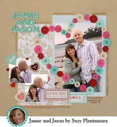 Pretty! scrapbook layouts, button heart, color schemes, paper, heart shapes, scrapbook idea, buttons, scrapbook pages, american crafts
