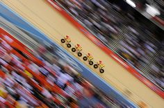 Spain men's team pursuit team in action during the track cycling at the velodrome by Tom Jenkins