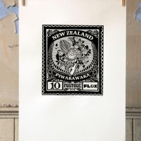 Fantail Black and White Stamp
