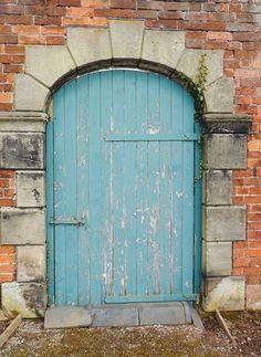 Old Blue door and ivy, Shugborough Park farm, Staffordshire, England ~