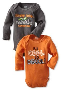 Gerber Baby-Boys Newborn 2 Pack Bodysuits, Gray/Orange, « Clothing Impulse