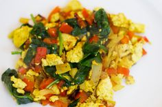 Tofu Scramble with spinach, red peppers and onion (Add Kala Namak (Black Salt) for genuine egg flavor).