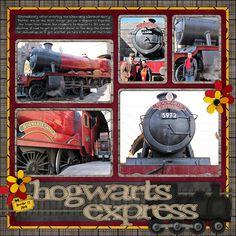 scrapbook travel, univers studio, hogwart express, scrapbook page layouts, hogwarts express, universal studios scrapbooking, scrapbook pages, harry potter scrapbook layouts