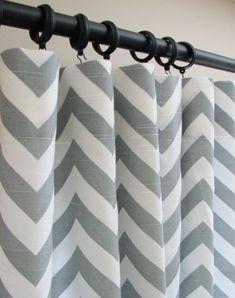 Love me some Chevron! Pair of Decorative Designer Custom Curtains Drapes 50 x 96 Ash Gray and White Chevron Zig Zag. $150.00, via Etsy.