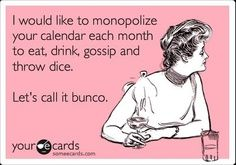 bunco table cards