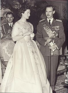 Princess Josephine-Charlotte of Belgium and Prince Jean of Luxembourg at a Brussels ball celebrating their engagement-1952