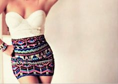 skirt, top, summer, style, crop tops, aztec, white, cream, bralet, sleeveless, bra, outfit, clothes, party, dress, tight, girly, pretty, gorgeous, printed, shirt - Wheretoget