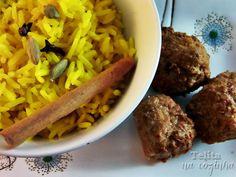 almôndegas tandoori masala e arroz kashmiri