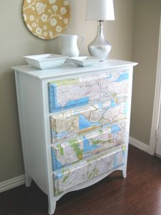 diy ideas, old dressers, vintage maps, kid rooms, dresser drawers, apartment ideas, colleg, guest rooms, chest of drawers