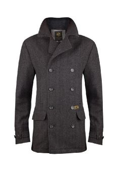 MENS CLASSIC GREY WOOL BLEND HERRINGBONE PEA COAT