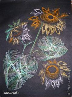 Картина панно рисунок Изонить Работы в технике изонить Картон Клей Нитки фото 1