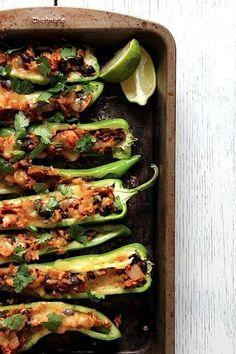 Vegetarian Lentil Stuffed Anaheim Peppers