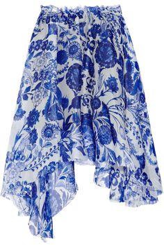 Rodarte printed silk-organza asymmetric skirt