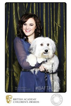 Britain's Got Talent winning act 'Ashleigh & Pudsey' cuddle up in the BAFTA TwitterBox at the British Academy Children's Awards