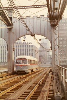 Pittsburgh Railways PCC No. 1635 on Smithfield St. bridge.