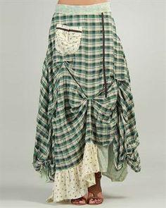 Ian Mosh Pattern-Blocked Pocket Embellished Skirt