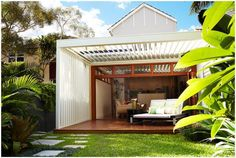 Louvred ceiling for light or shade, cover or breeze.