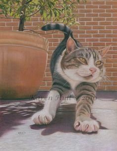 Karen Hull does beautiful colored pencils especially I like her cats.