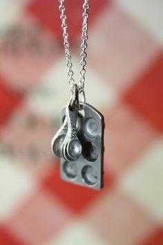 Cupcake Pan and Tiny Measuring Spoons on a Sterling Silver Plated Chain necklace $20.00