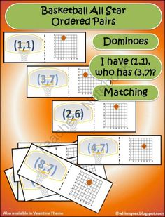 Ordered Pair Cards from Whimsy Resources on TeachersNotebook.com -  (21 pages)  - Ordered Pairs, Math, Games, Center, Basketball, Valentine