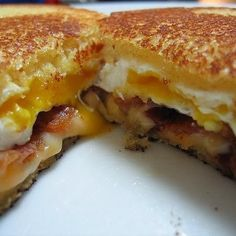 Breakfast Grilled Cheese - Great adaption of the grilled cheese sandwich! breakfast grill, food, grilled cheese sandwiches, dinner recipes, breakfast sandwiches, egg, grilled cheeses, morning breakfast, grill chees