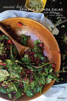 roasted beet quinoa salad with cranberry sweet potato chutney...vegan