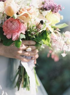 Gorgeous bouquet.   Flowers: Poppy Lane - http://www.poppylanedesign.com/  Photography: Brett Heidebrecht - www.brettheidebrecht.com  Read More: http://www.stylemepretty.com/2014/09/01/coastal-california-wedding-inspiration/  #wedding #bouquet #roses #flowers