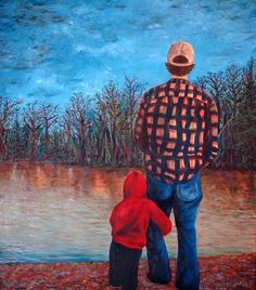 Me and Dad Fine Art Print-13x19 with Matte by Mary Elizabeth Arts
