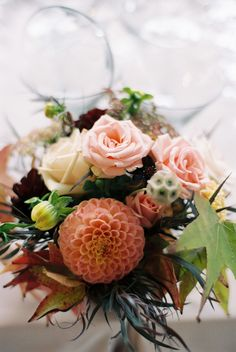 Ooh - so pretty! Dahlia, Rose, Scabiosa - love this centerpiece! See the wedding on SMP: http://www.StyleMePretty.com/mid-atlantic-weddings/2014/03/06/autumn-inspired-philadelphia-wedding/ Siousca Photography