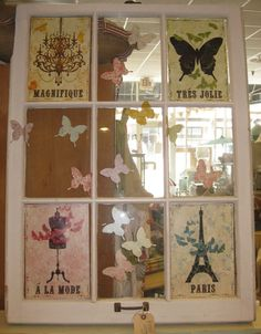 craft inspir, old windows, window idea, old window art, diy
