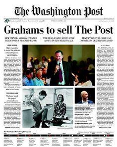 'Grahams to sell The Post' / la portada del nuevo rumbo del Washington Post