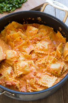Ravioli with Creamy Sun-dried Tomato and Basil Sauce - Cooking Classy #food #yummy #delicious