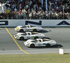 The Porsche 1-2-3 finish at the 1968 24 Hours of Daytona